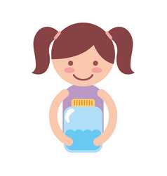 Cute little girl character with watter bottle vector