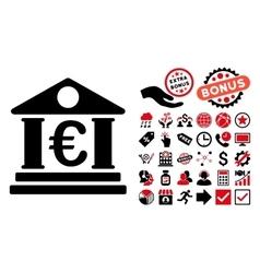 Euro Bank Building Flat Icon with Bonus vector image vector image