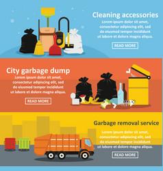 Garbage service banner horizontal set flat style vector