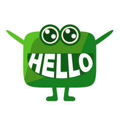 green blob saying hello cute emoji character with vector image
