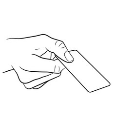 Hand holding a plastic card on white background vector