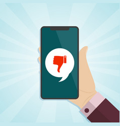 hand holding smartphone with dislike icon on a vector image vector image