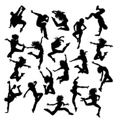 Hip Hop Dancing Silhouettes vector image