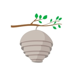 Hive on tree branch cartoon icon vector