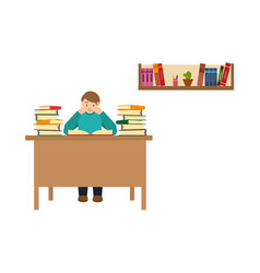 Man student reading books studying in library vector