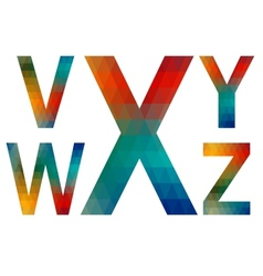 Mosaic alphabet letters v w x y z vector