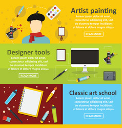 Painter tools banner horizontal set flat style vector