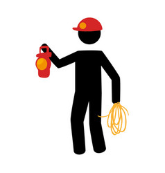 Pictogram silhouette with miner with flashlight vector