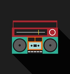 Retro vintage boombox radio flat design vector