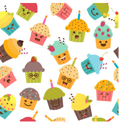 seamless pattern with cupcakes and muffins cute vector image vector image