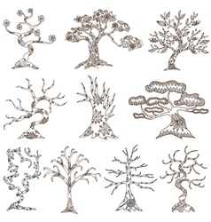 set of 10 decorative trees vector image vector image