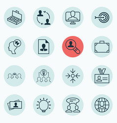 Set of 16 business management icons includes open vector