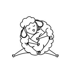 sheep sleeping cartoon vector image