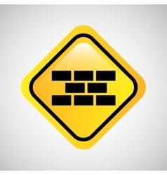 sign bricks construction yellow icon vector image