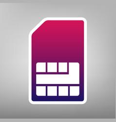 Sim card sign purple gradient icon on vector