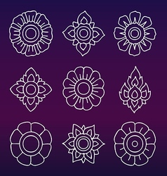Thai motifs vintage decorative elements han vector
