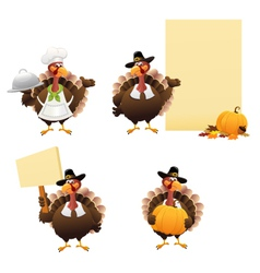 Thanksgiving Turkey Set vector image