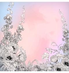 Watercolor Pencil Ink Sketch Flowers vector image