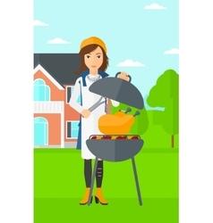 Woman preparing barbecue vector