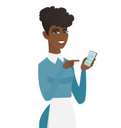 Young african cleaner holding a mobile phone vector