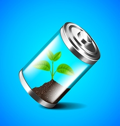 Young plant inside the battery environment concept vector image
