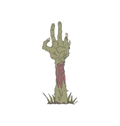 Creepy zombie haind rising from the ground vector