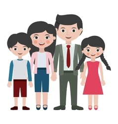 Parents daughter and son cartoon design vector