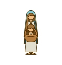 Isolated holy mary and baby jesus design vector