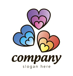 Logo colored hearts vector