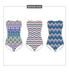 Set of swimwear with a geometrical pattern vector