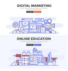 Flat design concept banner - digital marketing vector