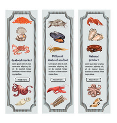 Colorful sketch natural seafood vertical banners vector