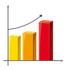 Business graph of growth icon cartoon style vector