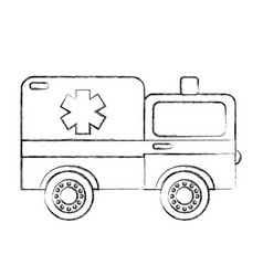 Sketch draw ambulance car cartoon vector