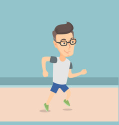 Caucasian sporty man jogging on the beach vector