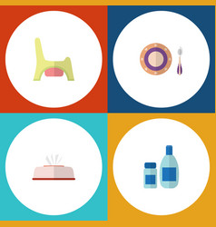 Flat icon child set of toilet baby plate tissue vector