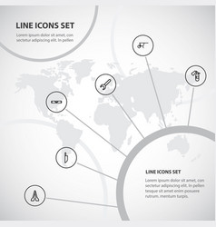 Set of 6 editable tools outline icons includes vector