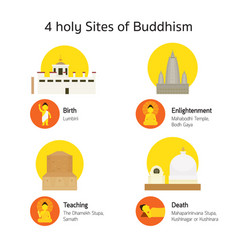 4 place of buddhism holy site vector