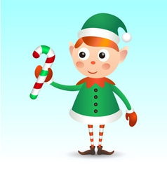 Elf with candy cane vector image