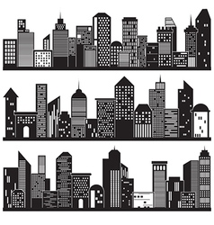 Cityscapes and building silhouettes design vector