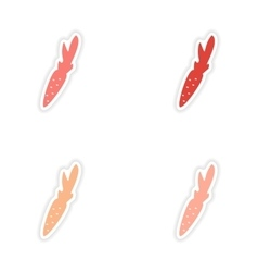 Assembly realistic sticker design on paper carrots vector