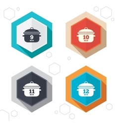Cooking pan icons boil nine twelve minutes vector