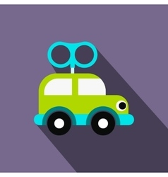 Clockwork toy car flat icon vector