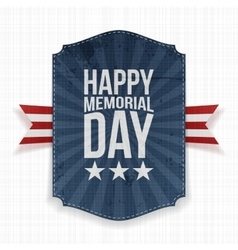 Happy memorial day greeting poster and ribbon vector