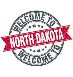 Welcome to north dakota red round vintage stamp vector