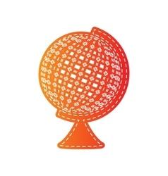 Earth globe sign orange applique isolated vector