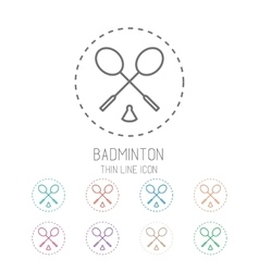 Badminton game icons - rackets with shuttlecock vector image vector image