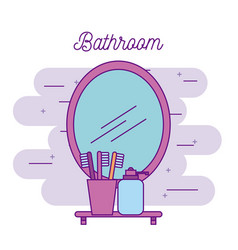 bathroom mirror and shelf with toothbrush soap vector image