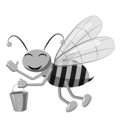 Bee with bucket honey icon gray monochrome style vector