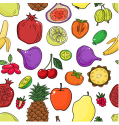 colorful seamless pattern with fruits vector image